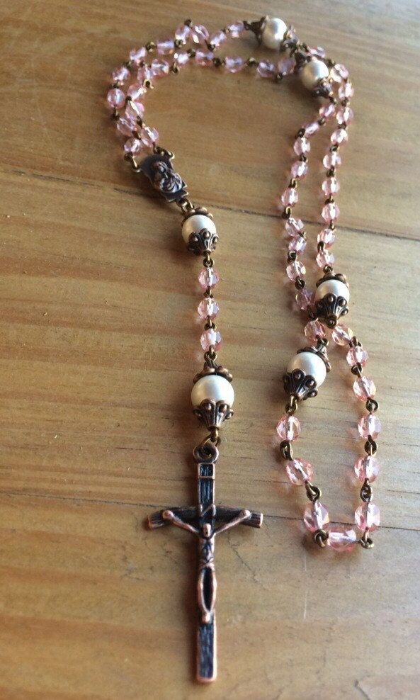 Rosary, handmade with pink czech crystal beads, glass pearl beads