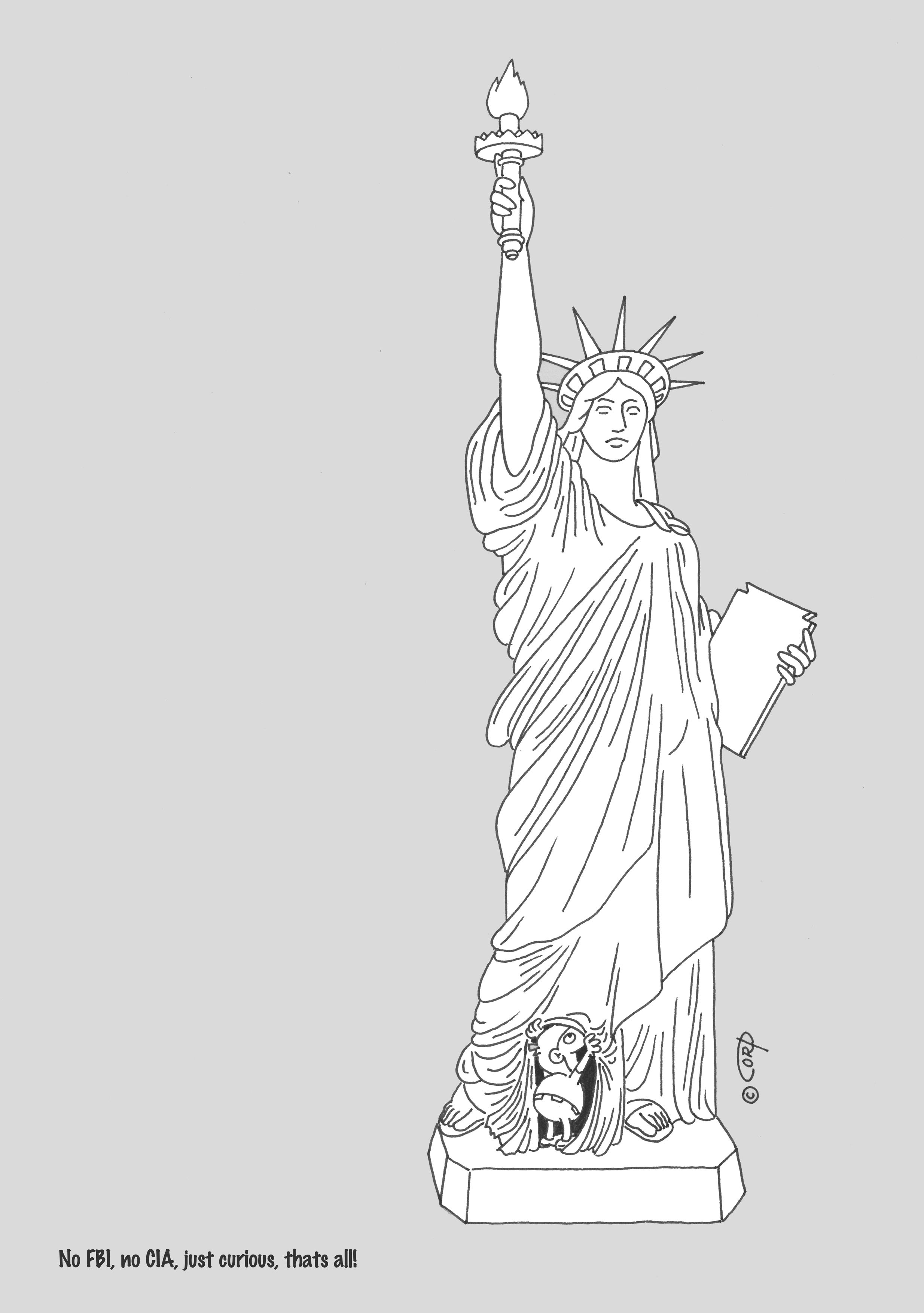 funny drawing cartoons humor comics statue of liberty