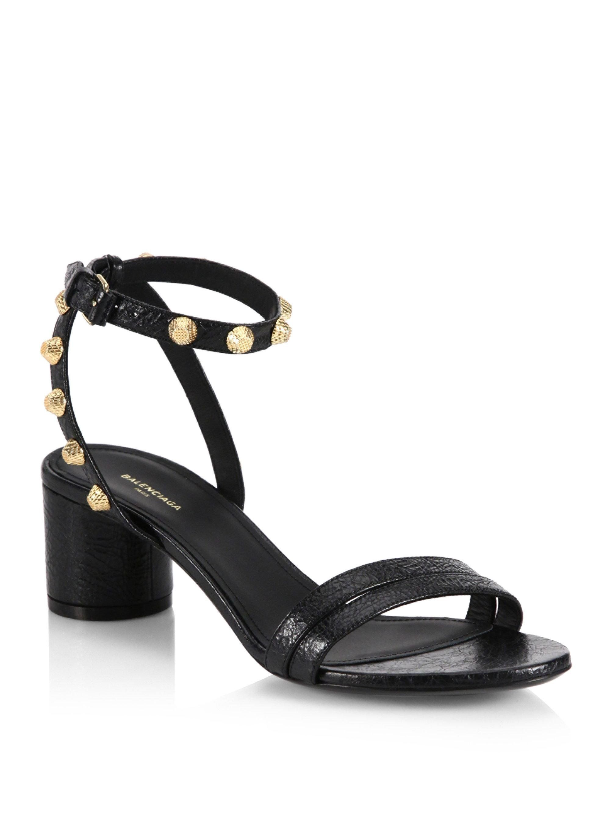 6a5ffdd3344 Balenciaga Leather Block Heel Studded Sandals