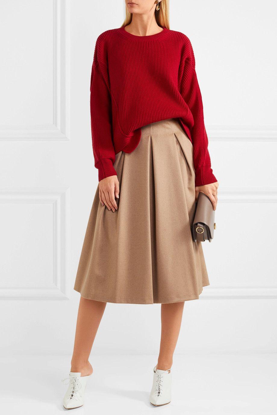 Max Mara | Pleated camel hair midi skirt | NET-A-PORTER.COM