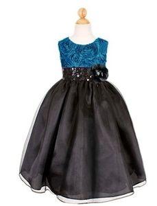 Black / Teal Girls Dress