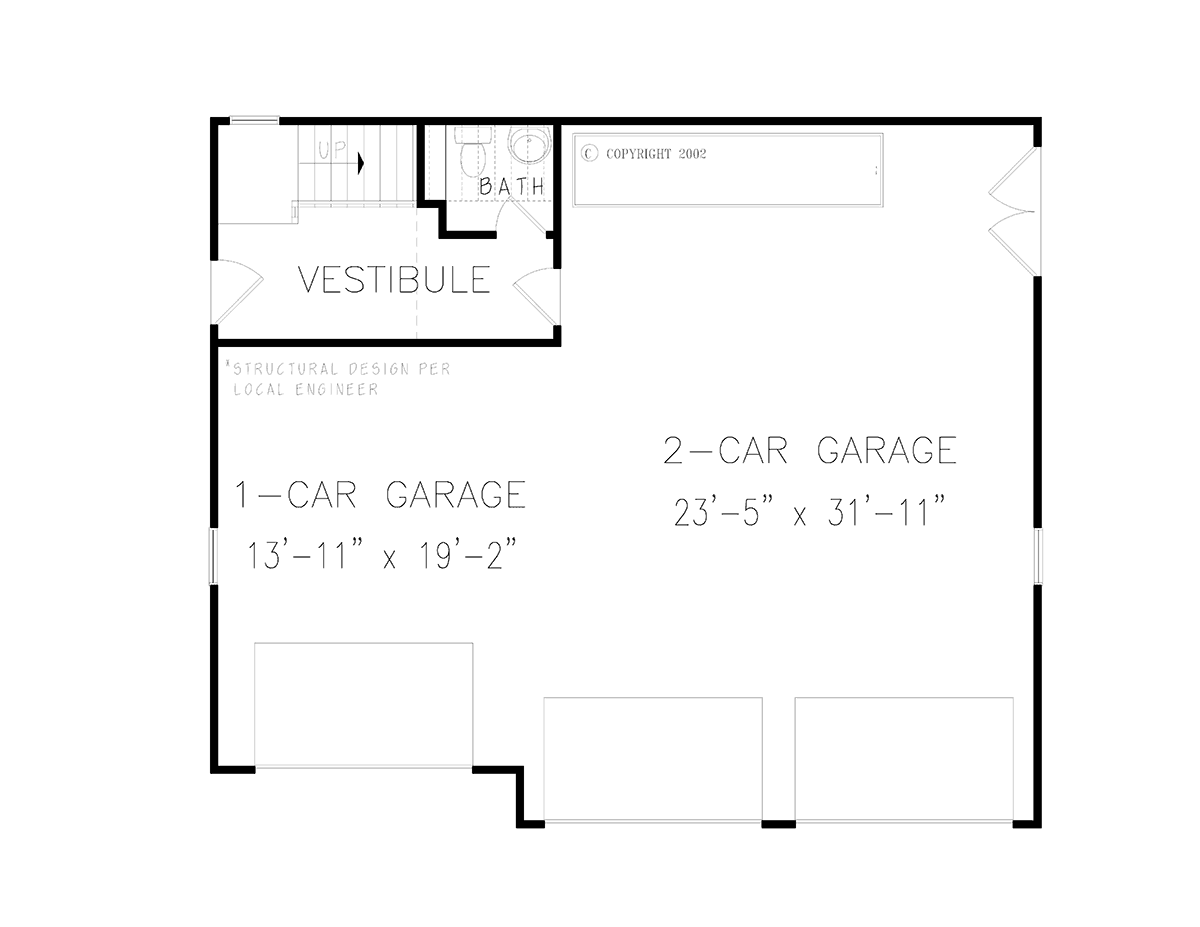 French Country Style 3 Car Garage Plan Number