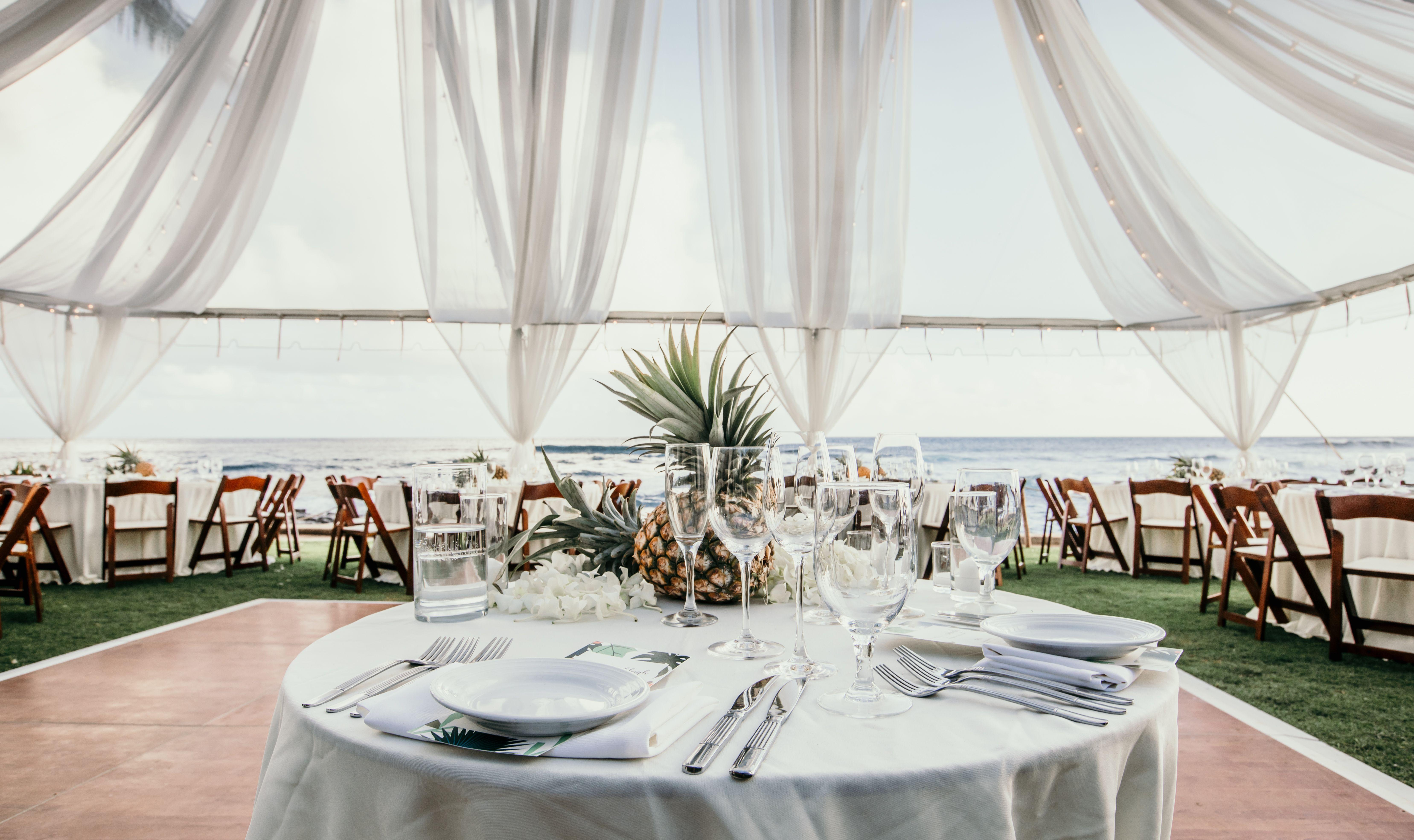 Oceanfront Wedding Reception The Beach House Kauai Destination Hawaii Wedding Beach House Kauai Oceanfront Wedding Beach Wedding Reception