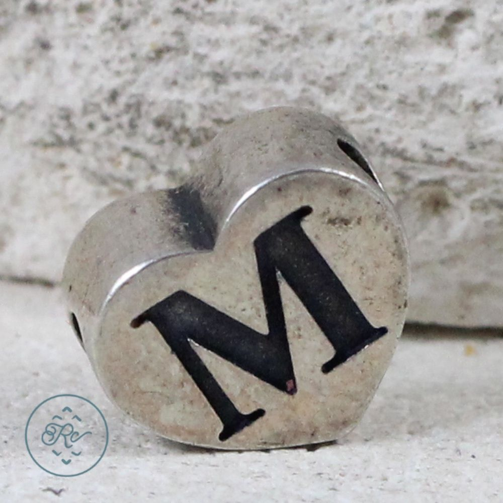 Sterling Silver - JAMES AVERY Letter M Heart Bead 1.7g - Charm Pendant WO8332