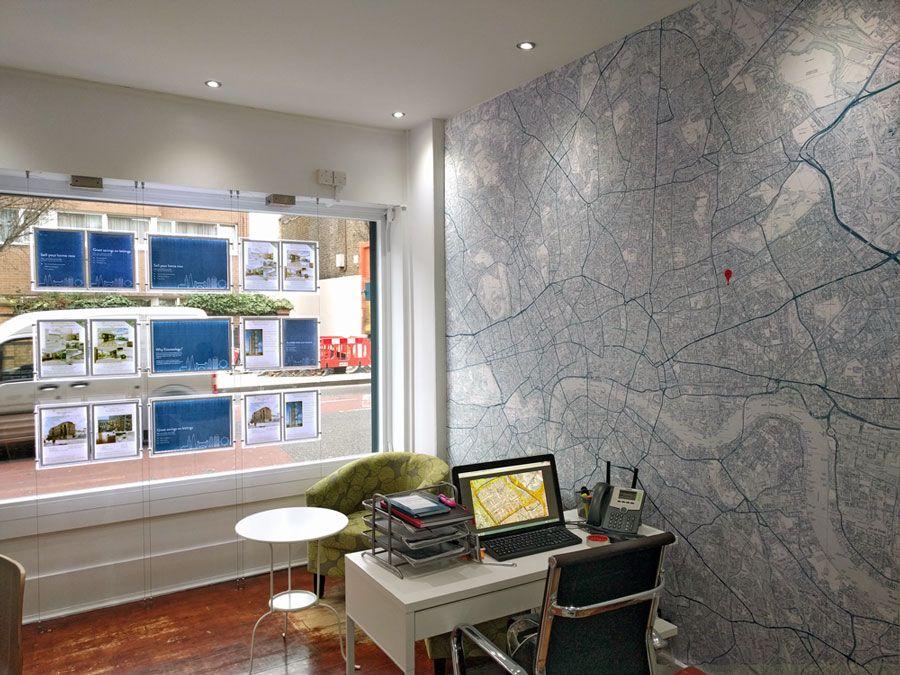 estate agent office design. Estate Agent Office With Wallpaper Map Design E