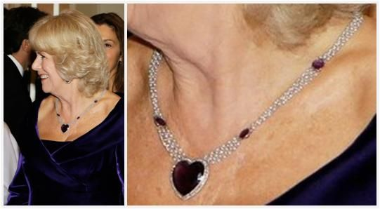 The Royal Order of Sartorial Splendor: Random Royal Appreciation: Partying with the Windsors: Camilla's heart-shaped Amethyst necklace
