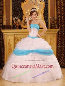 37a7236b454 wholesale perfect ball gown strapless floor-length appliques satin and organza  white quinceanera dress