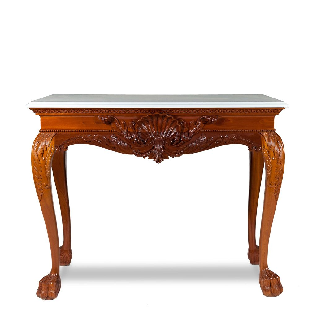 The Shell Table Is A Fine Shell And Acanthus Decorated Console Table  Exquisitely Carved With Crisp Definition, Carved Cabriole Legs And Hairy Paw  Feet.