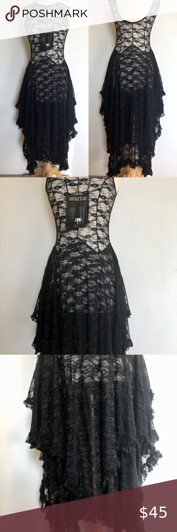 Free People Multi Layer Ultr Goth Black Lace Dress Black Lace Dress Lace Dress Vintage Lace Dress [ 1740 x 580 Pixel ]