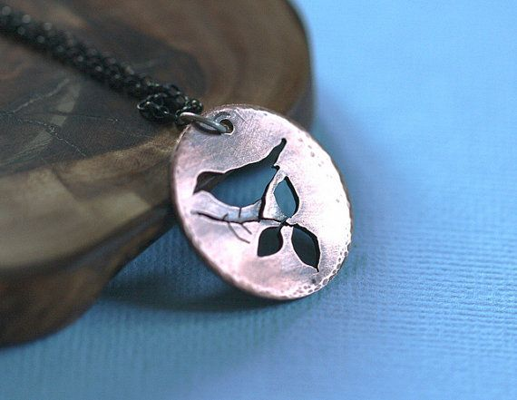Bird and branches necklace by PeculiarForest on Etsy, $35.00