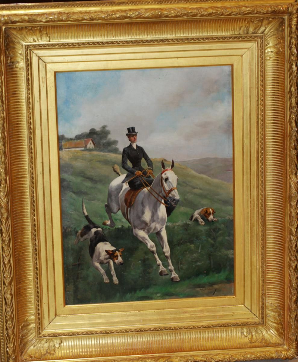 """#Oil on #wood """"Amazon with his dogs"""" signed on the lower right Charles Ferdinand #Condamy (1855-1913). 19th century. For sale on #Proantic by Olivier d'Ythurbide et Associé."""