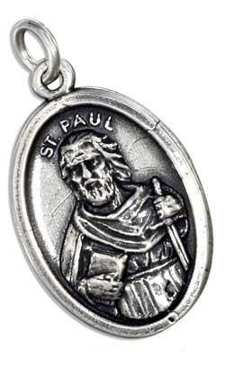 St Paul Sterling Silver Oval  Medallion on 18 by CherishedSaints, $54.00