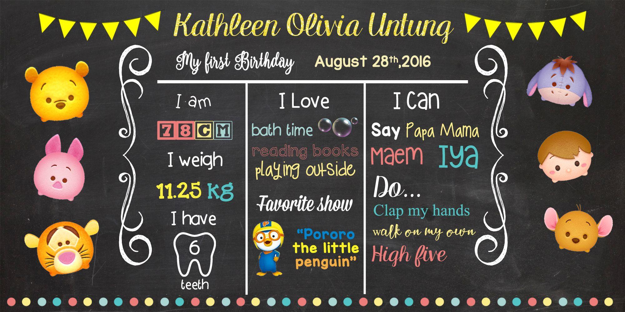 Olivia 1st Birthday Chart Birthday Charts First Birthdays Birthday