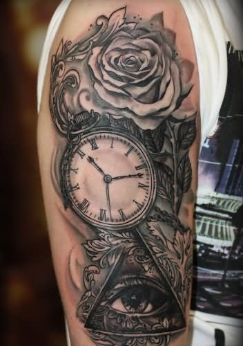 Right Half Sleeve Pocket Watch Tattoo For Men Watch Tattoos Half Sleeve Tattoos For Guys Pocket Watch Tattoo