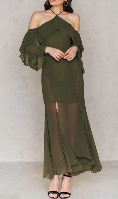 Off shoulder long sleeve ruffle maxi evening dress oasap my