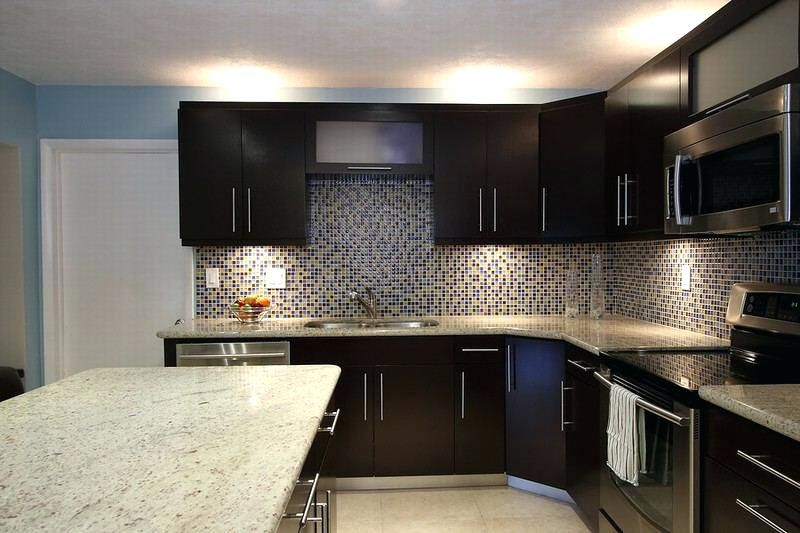 kitchen backsplash ideas for brown cabinets kitchen glass tile ideas