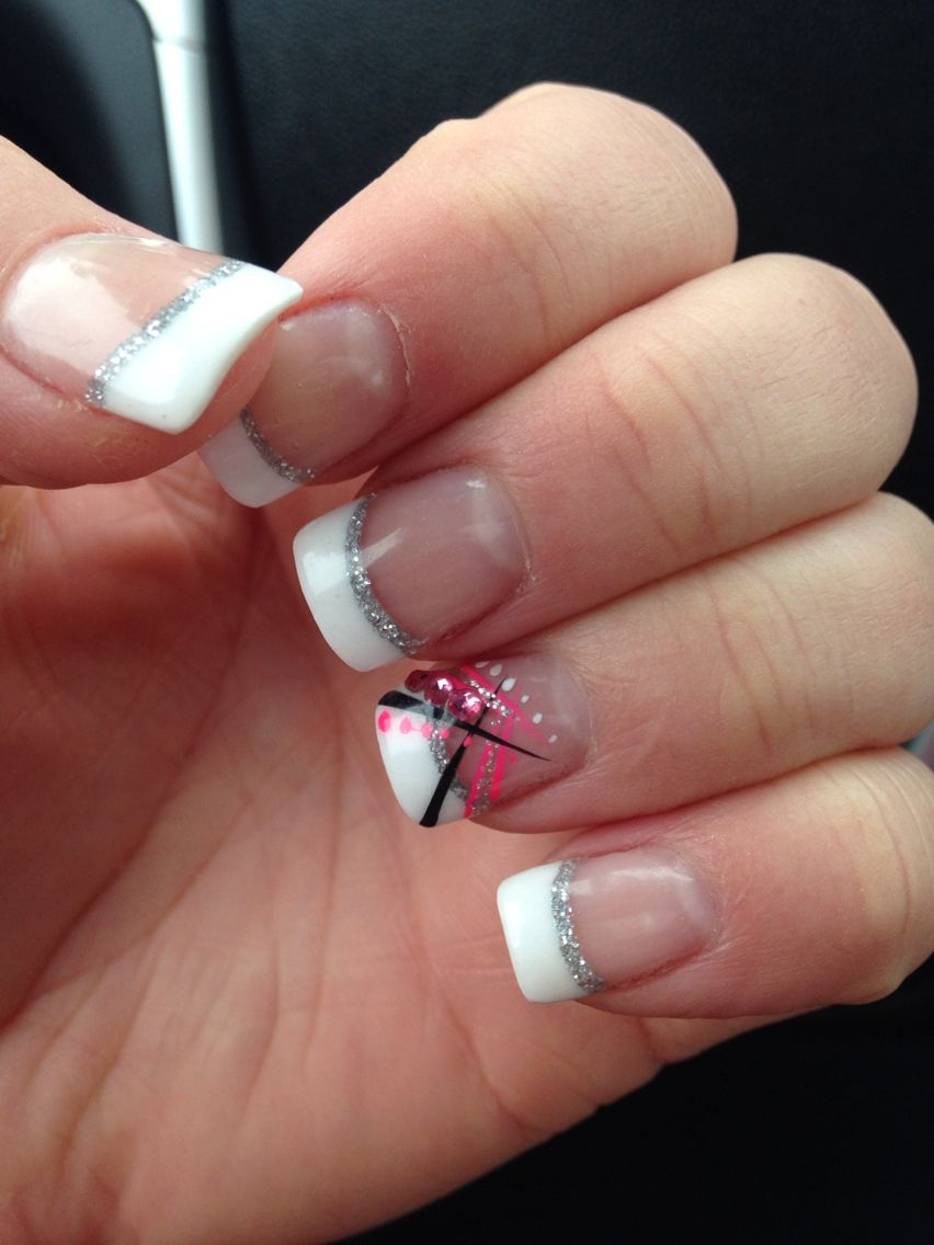 New set of nails :) French tip with silver sparkle smile line, cute ...