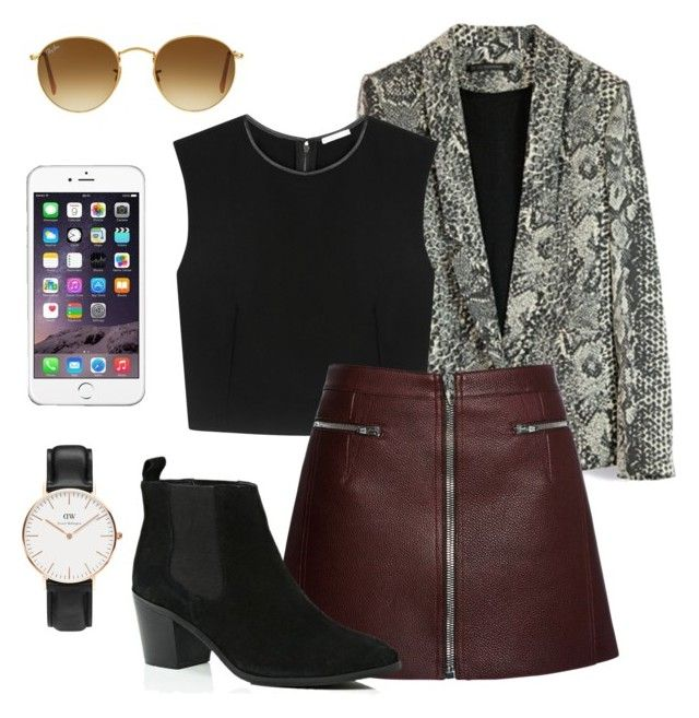 """Out"" by kajchystyles on Polyvore featuring Daniel Wellington, Alice + Olivia, Alexander Wang, River Island and Ray-Ban"