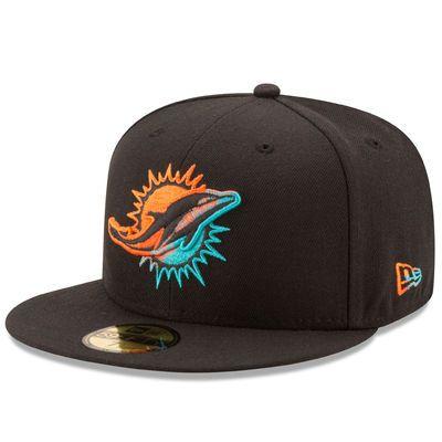 designer fashion 877da bb829 Men s Miami Dolphins New Era Black Color Dim 59FIFTY Fitted Hat