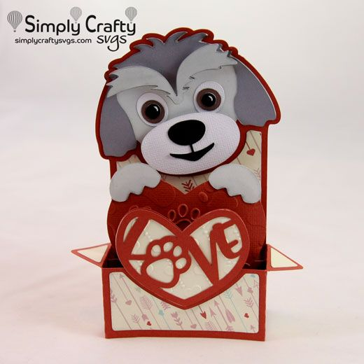 Dog Love Box Card Svg File Valentine S Day Svg Files Pinterest