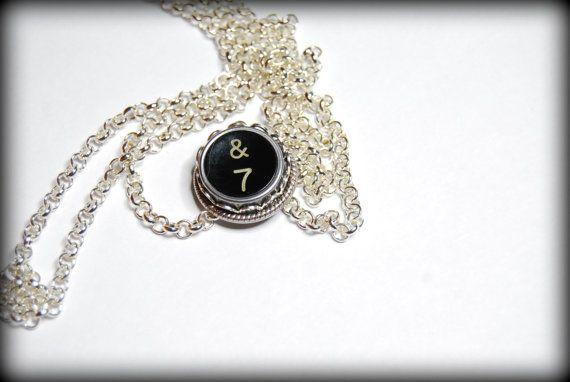 Typewriter Key Necklace Handmade Vintage Style by JustWearThese, $18.00