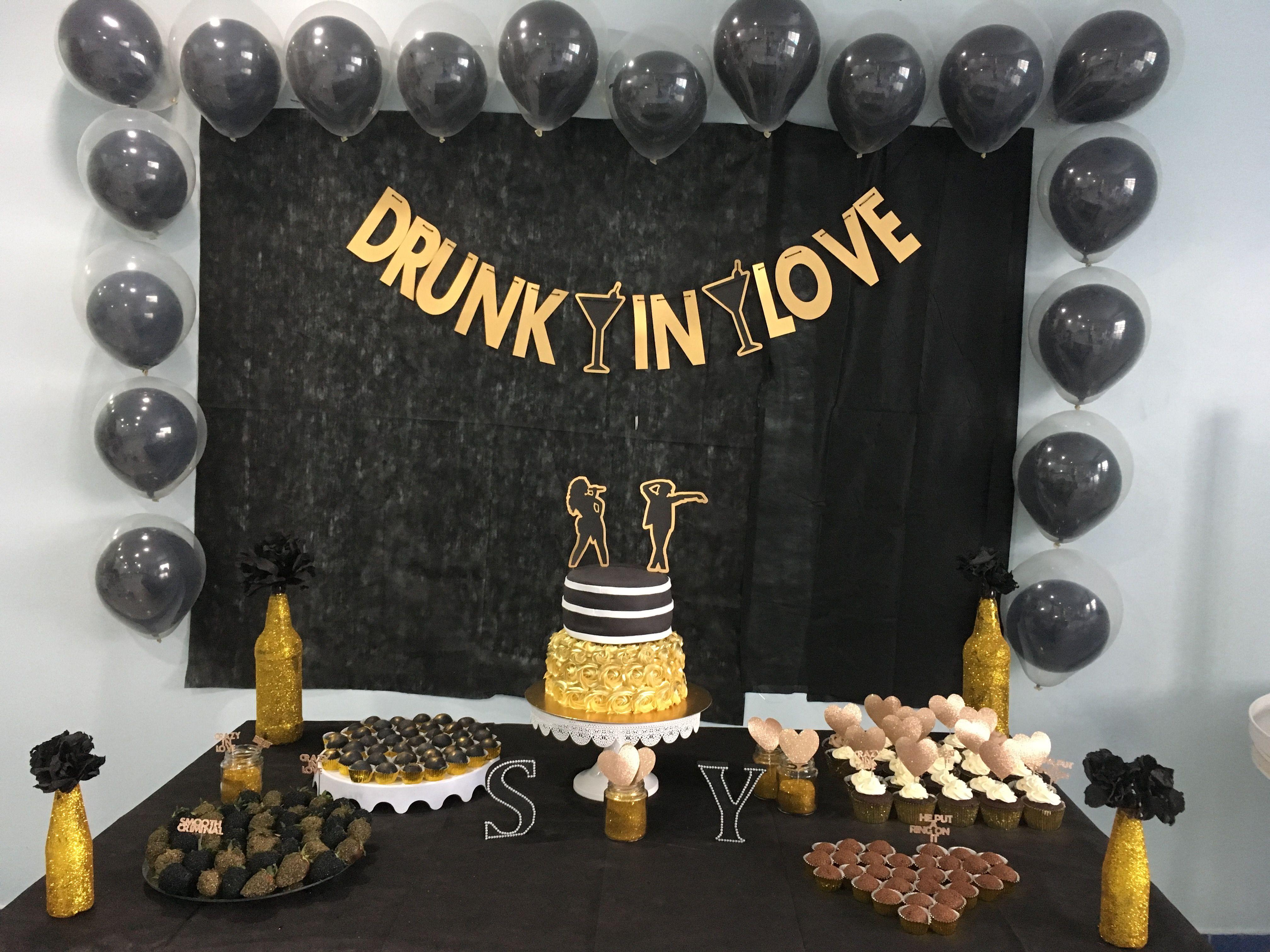 Black And Gold Beyonce Bridal Shower Cha Bar Da Beyonce Preto E