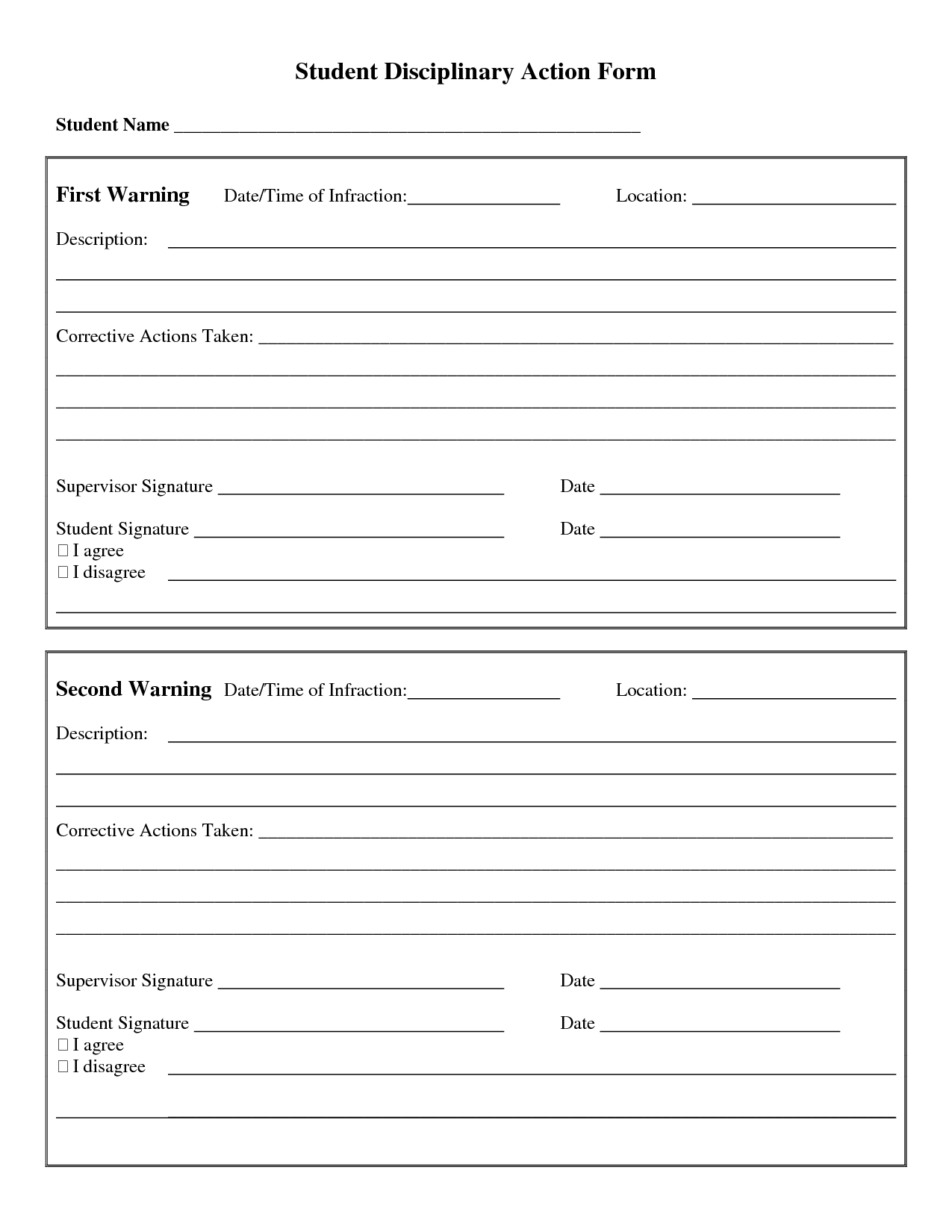 Student Discipline Form  Google Search  Classroom