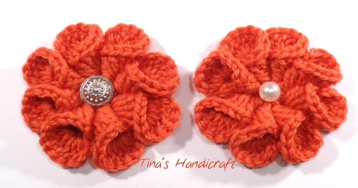 DIY 3D Crochet Flower Full Tutorial   UsefulDIY.com   CROCHET ...