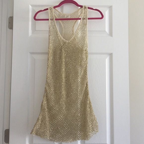SALE Intimately Free People Gold Sequin Tunic Missing the slip. Easy to replace. Definitely a mini dress. Will be perfect year round! Inner tag is cut in half to prevent store returns. Free People Dresses Mini