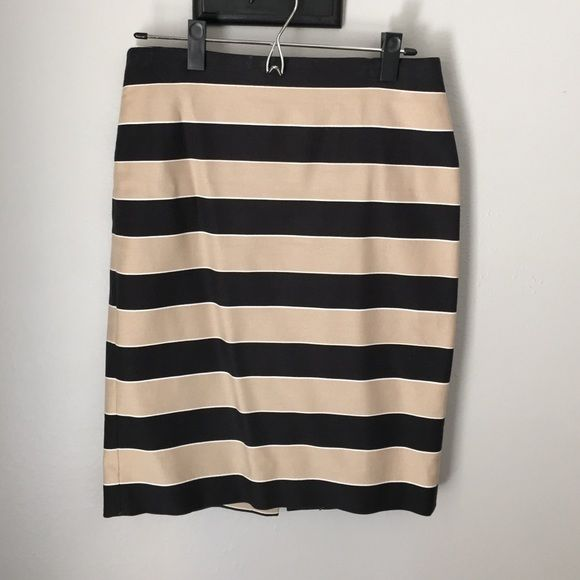 Ann Taylor Loft Pencil Skirt Black, tan and white striped pencil skirt from Ann Taylor Loft. It has a slight stretch to the fabric. It is 22.5 inches in length. The waist is 15 across when laying flat. LOFT Skirts Pencil