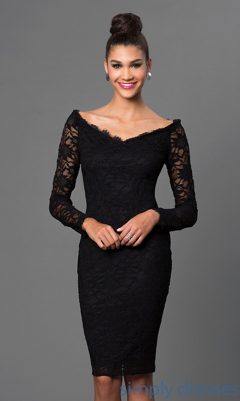 414c169fe1 Shop long sleeve black lace off shoulder dresses by Marina at  SimplyDresses. Knee length scalloped neckline cocktail dresses for holiday  celebrations.