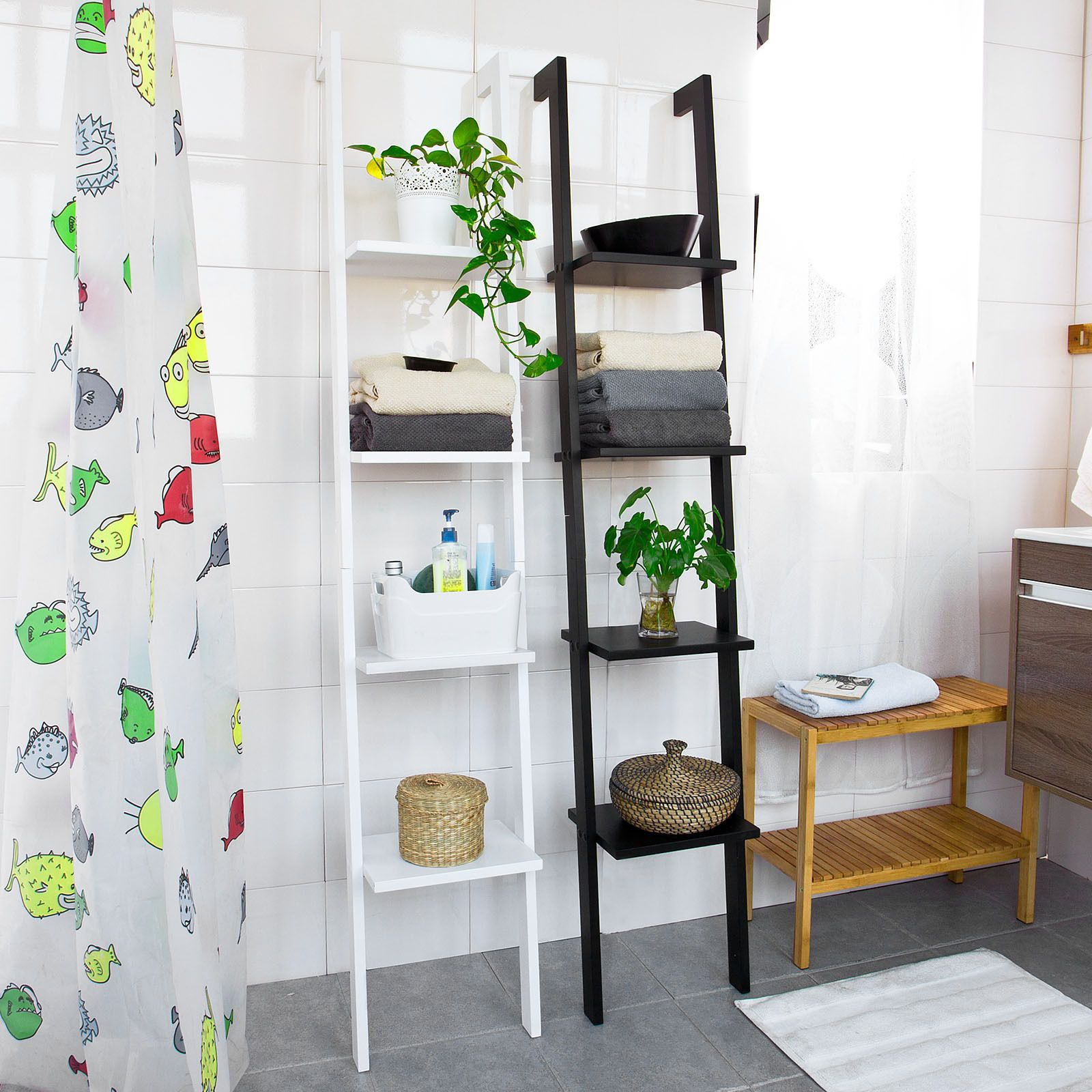 so  modern 4 tiers ladder shelf display storage wood wall