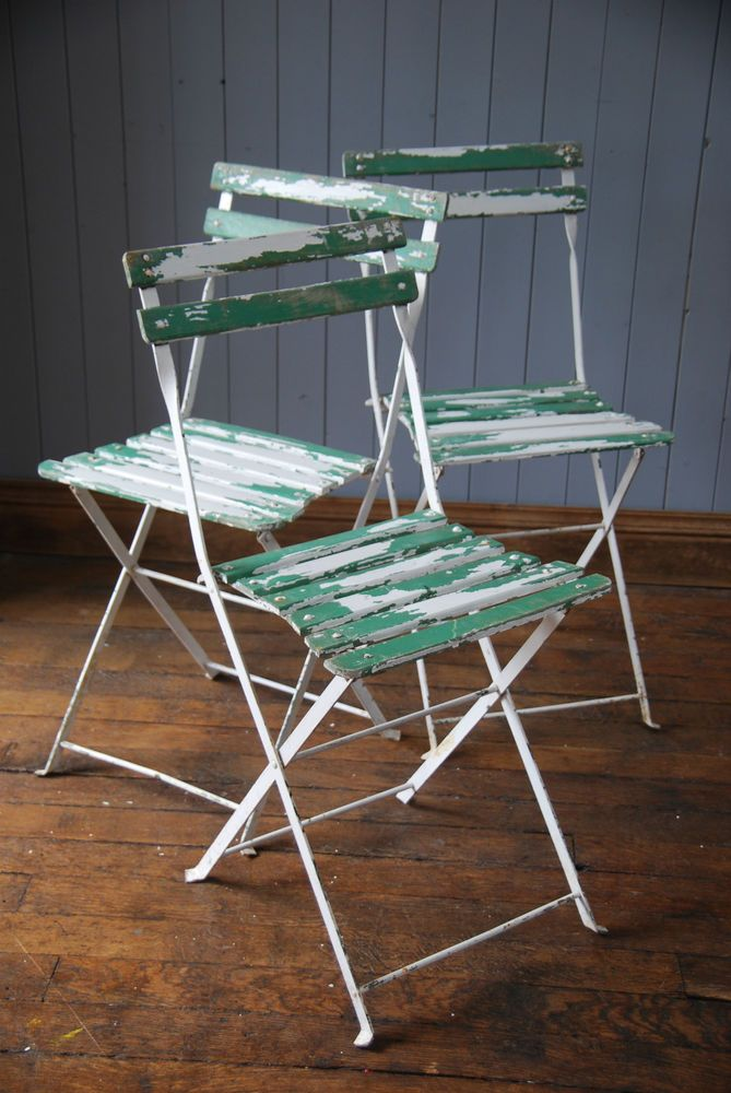 3 French Vintage Rustic Folding Slatted Garden Chairs