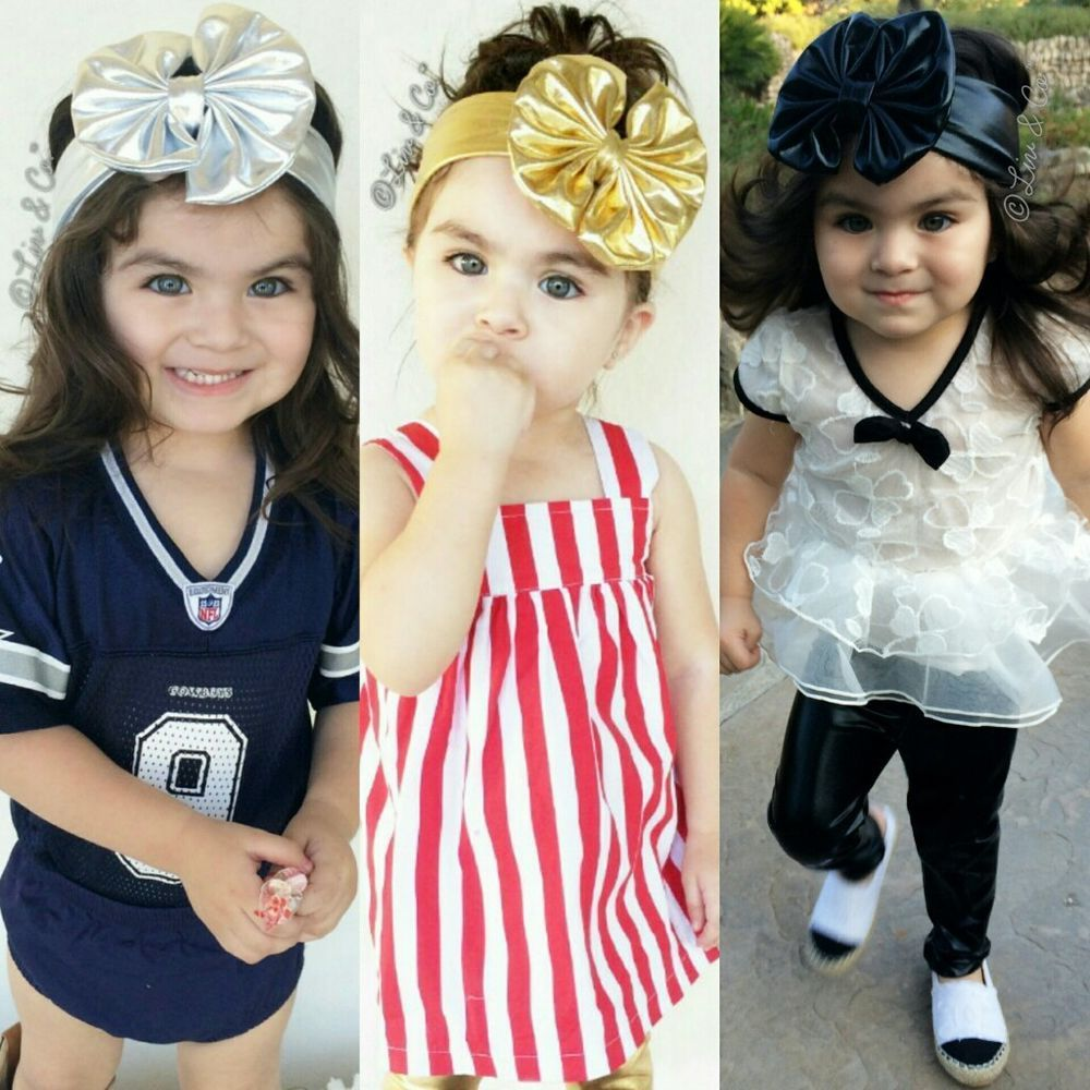 Hair accessories for babies ebay - Baby Toddler Girl Metallic Black Silver Or Gold Floppy Hair Bow Headband