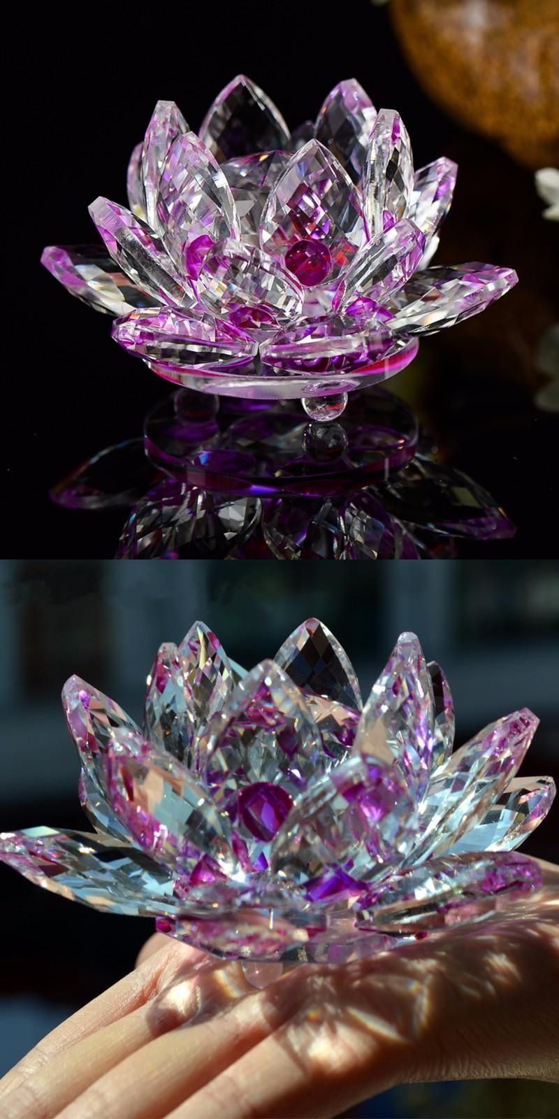 35 Inches Sparkle Crystal Glass Lotus Flower Craft Feng Shui Home