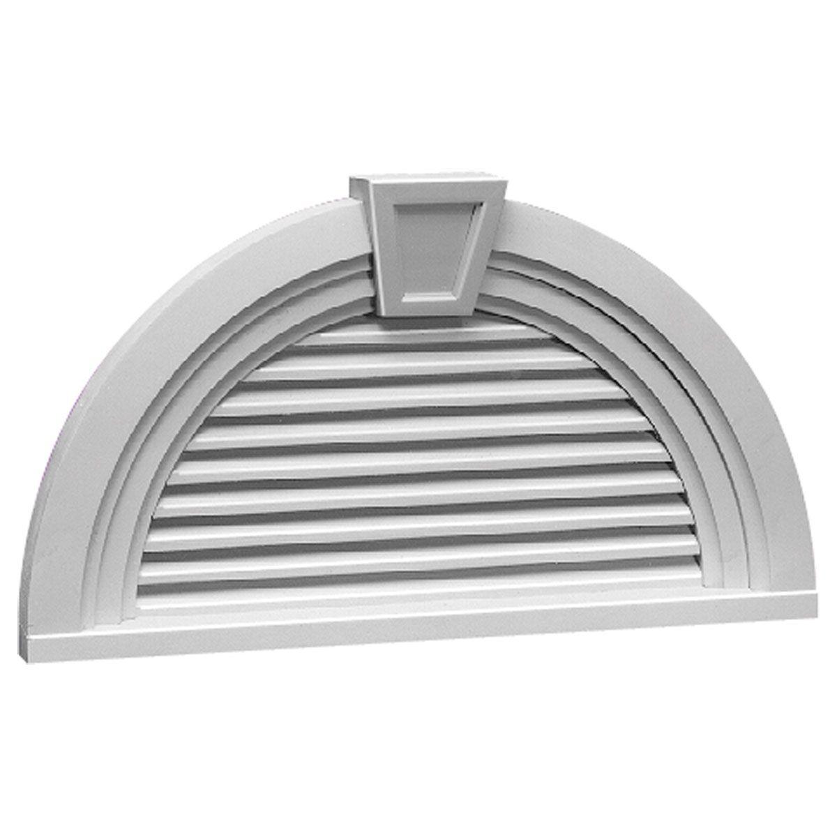 36-inch w x 18 9/16-inch h x 3-inch p half-round louver with non
