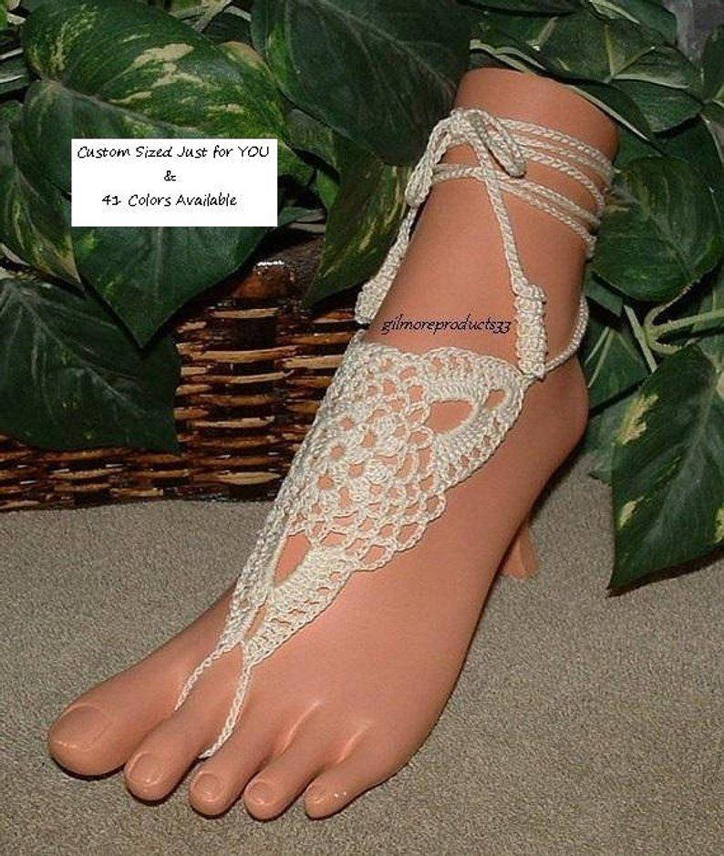 Women Bridal Beach Crochet Barefoot Sandals Foot Jewelry Ankle Bracelet Anklet
