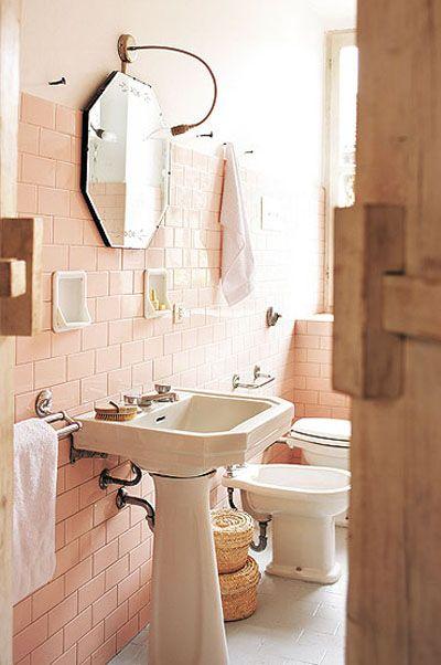 Pin By Wanee Johari On Bathroom Pink Bathroom Tiles Retro