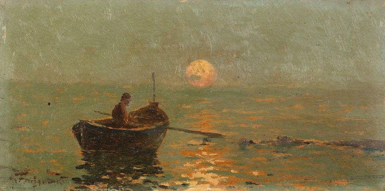 Giuseppe Forcignanò  Gallipoli 1862 - Parigi 1919  Pescatore in barca al tramonto