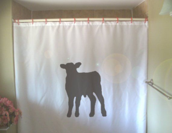 Calf Shower Curtain Baby Cow Cattle Farm Animal Cute Young Spring