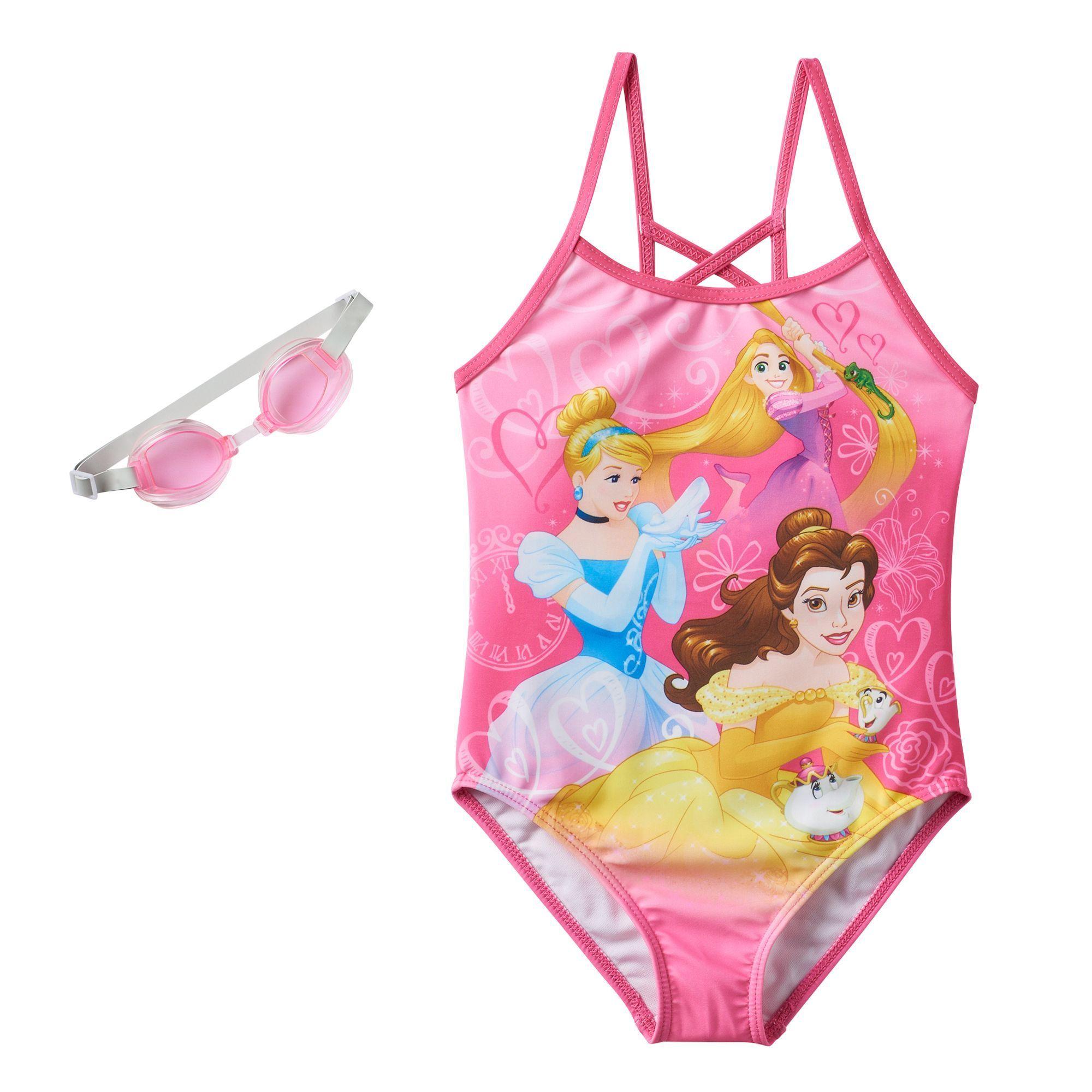 Disney Princess Rapunzel, Cinderella & Belle Girls 4-6x One-Piece ...