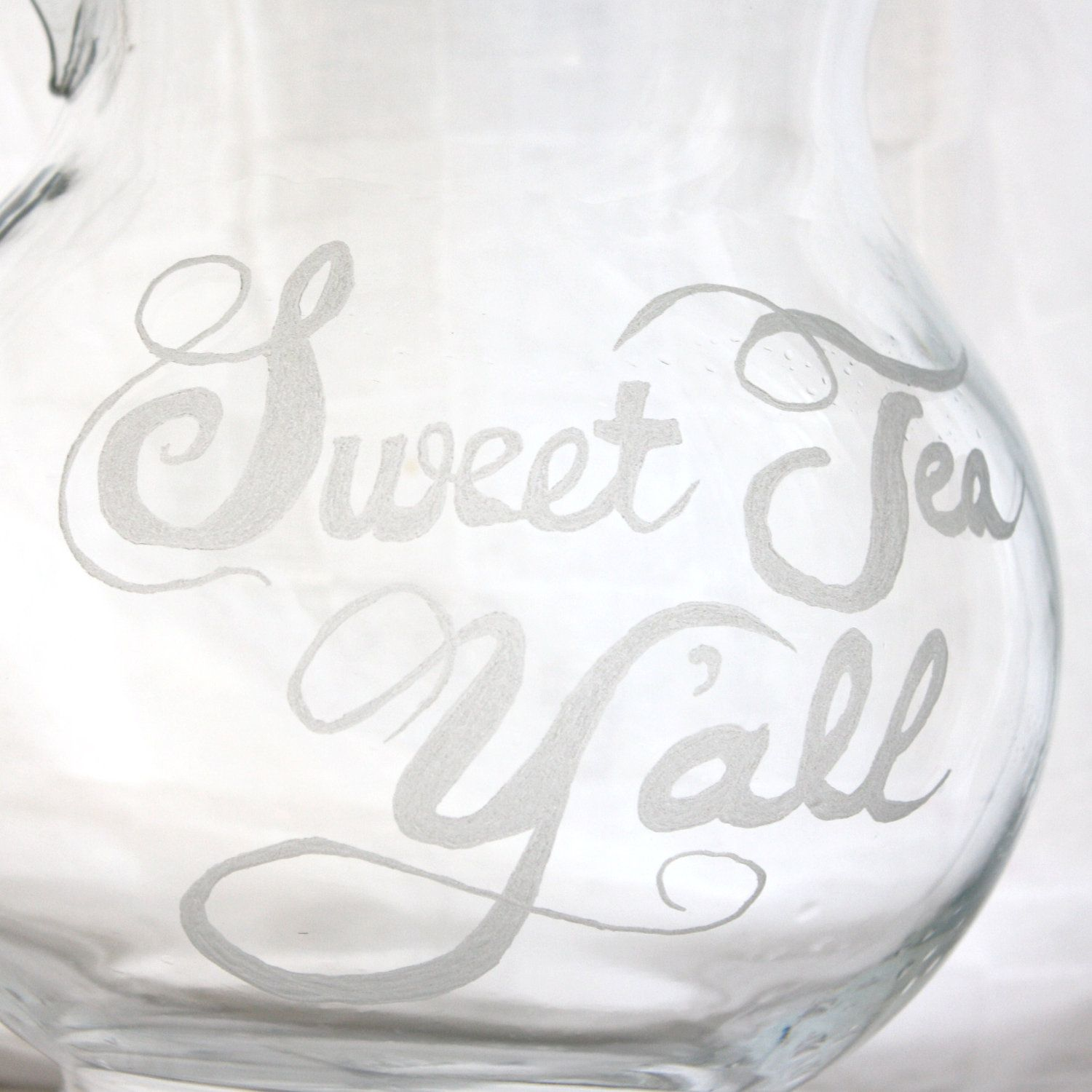sweet tea yall etched glass pitcher dishwasher safe southern kitchen decor