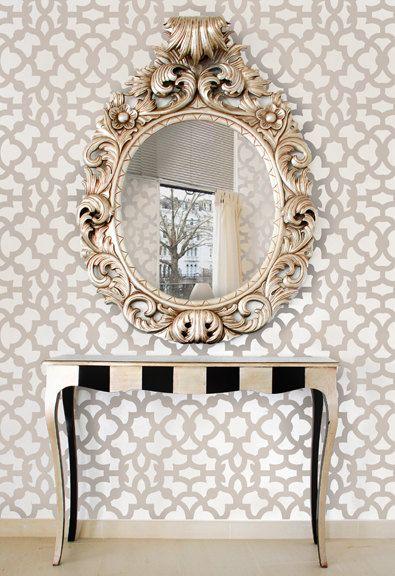 Moroccan Stencil Zamira Allover - Short - reusable wall ...