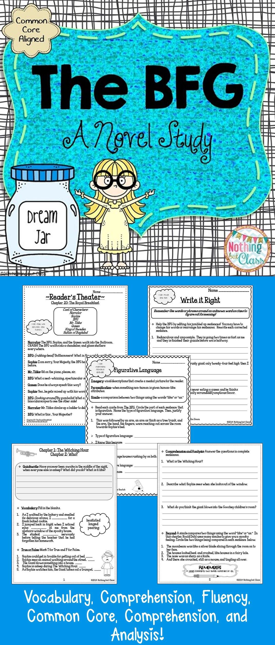 The Bfg Novel Study Unit Comprehension Vocabulary Activities Tests