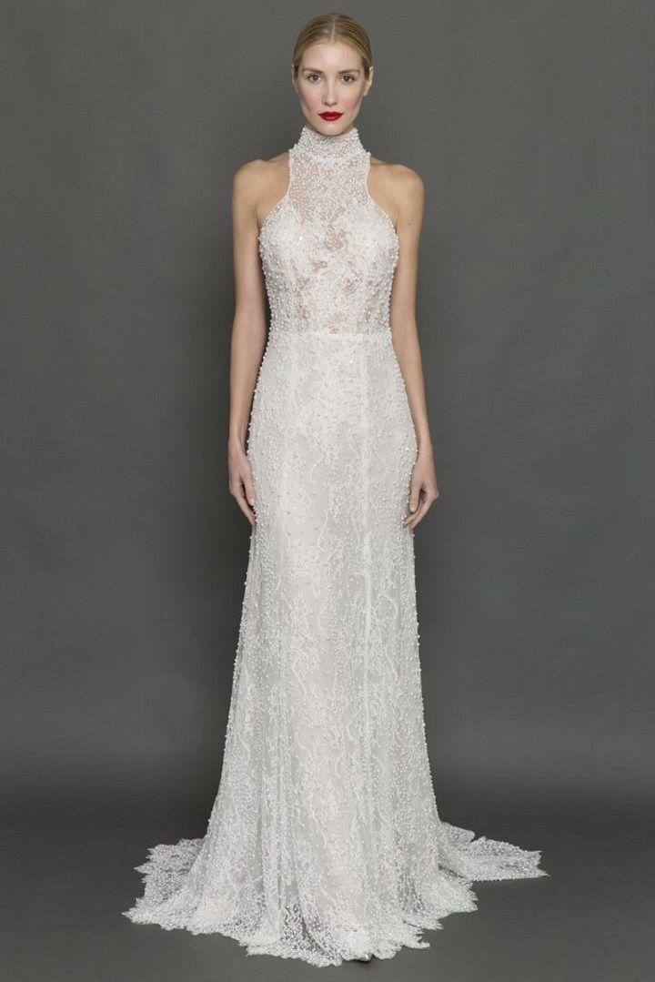Francesca Miranda high neck pearl encrusted wedding dress | itakeyou.co.uk #weddingdress #weddingdresses #highneck #bride #bridalgown #weddinggown #weddinggowns