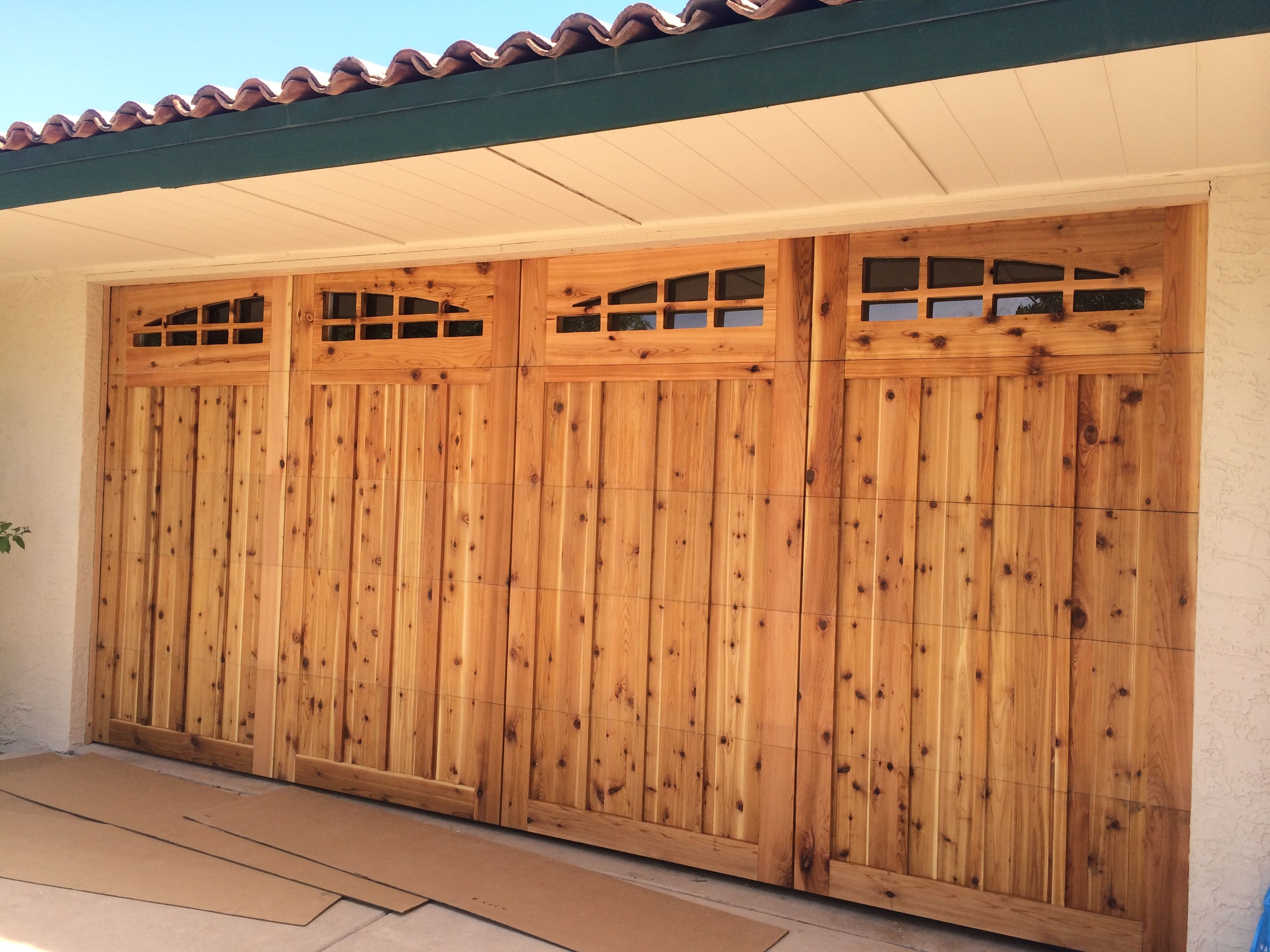 Custom Cedar Wood Overlay Garage Doors In Scottsdale Az Garage