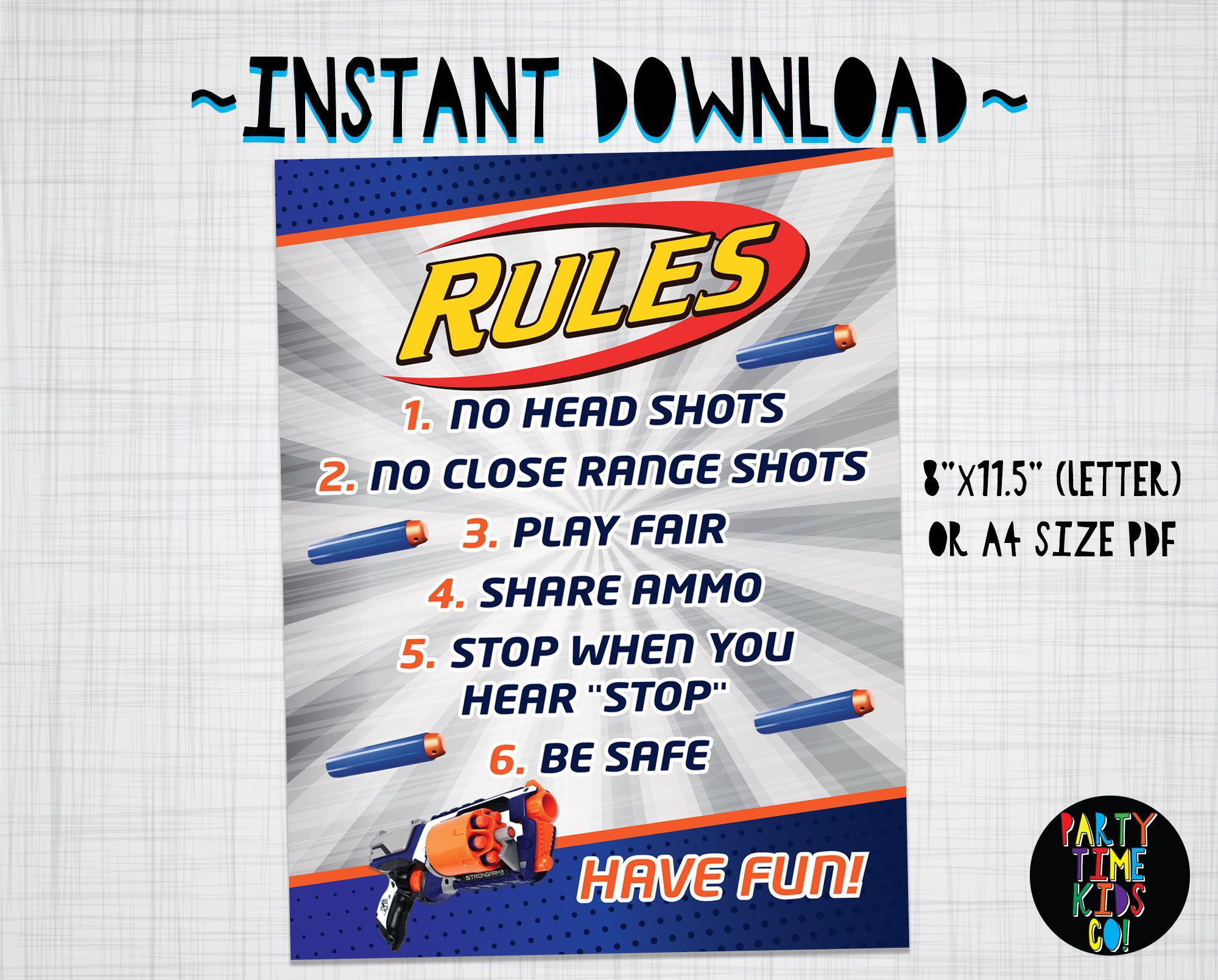 Nerf Rules Poster Rule Sign Nerf Wars Party Decorations Party Supplies INSTANT DOWNLOAD with matching