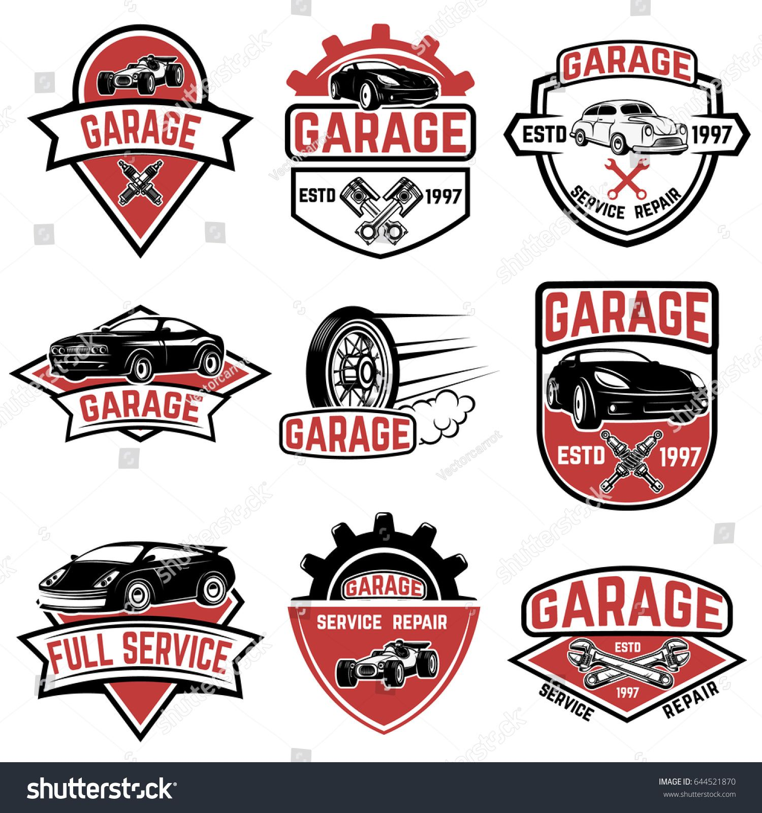 Stock Vector Set Of Vintage Car Service Labels Design Elements For Logo Label Emblem Sign Badge Vector 644521870 Jp Car Logo Design Automotive Logo Logo Design