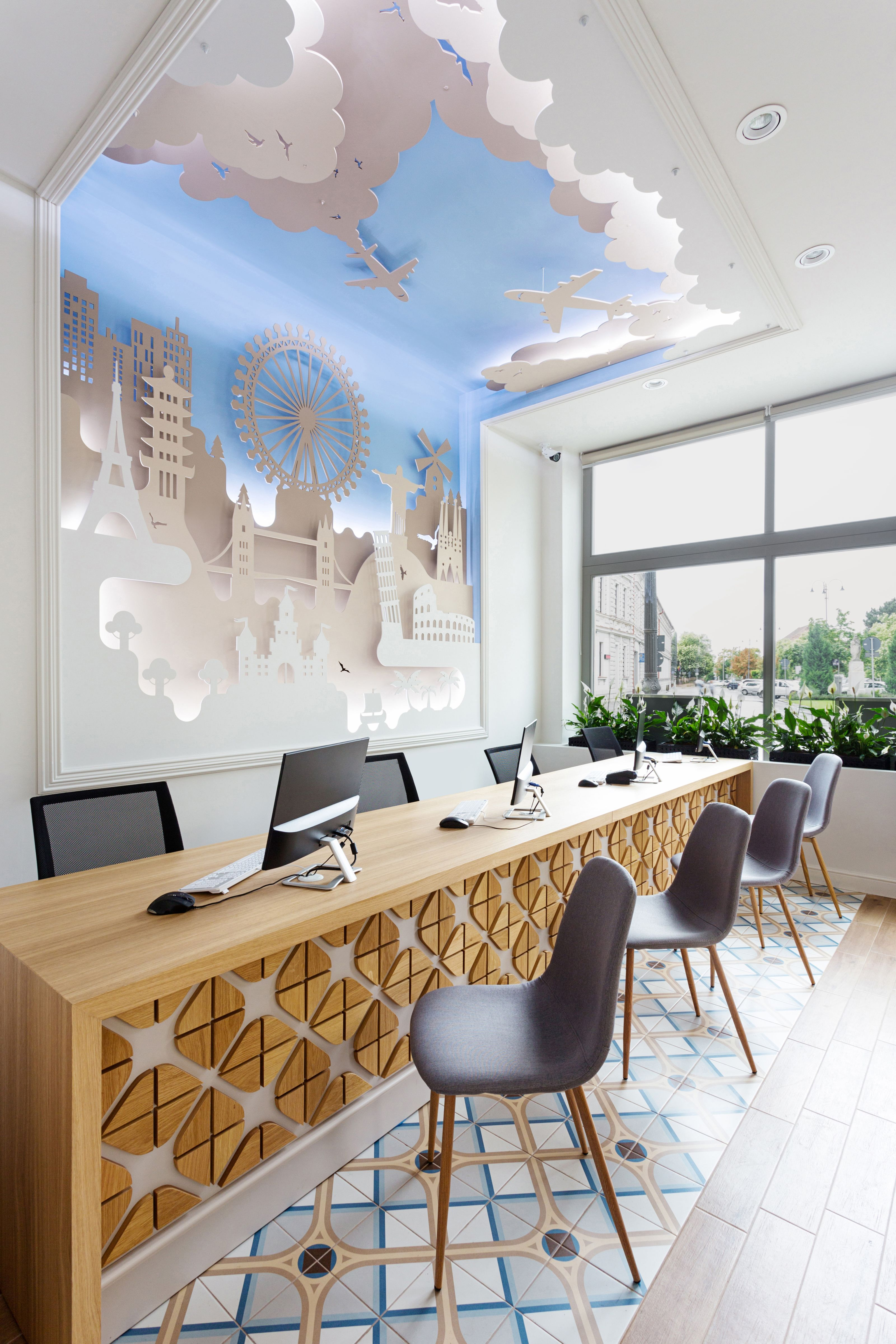 Transilvania Travel Services Agency Project Made By Tuzson Design With Montaner Floor Tiles Vives Cerami Office Interior Design Office Interiors Interior