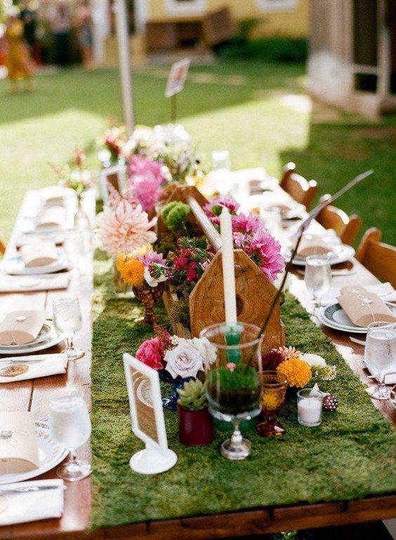 rustic bohemian wedding decor ideas / http://www.deerpearlflowers.com/moss-decor-ideas-for-a-nature-wedding/2/